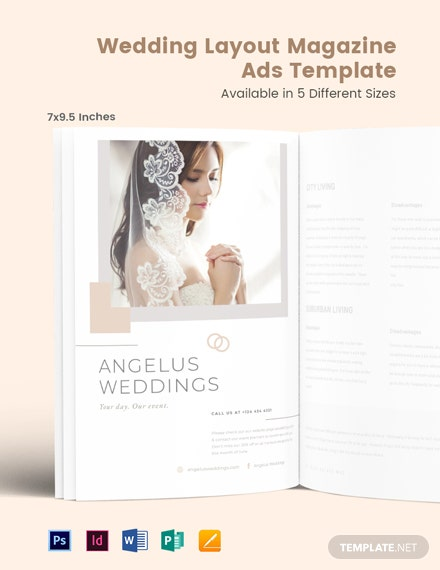 Free Wedding Layout Magazine Ads Template
