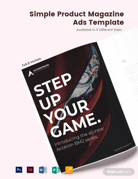 Free Simple Product Magazine Ads Template