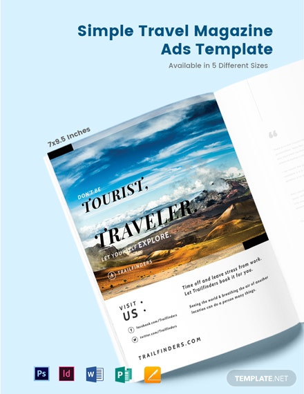 Simple Travel Magazine Ads Template