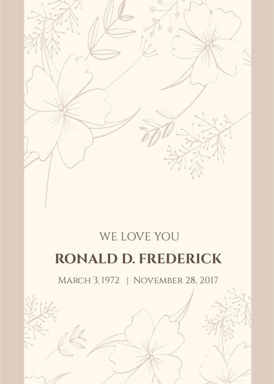 Folded Memorial Card Template