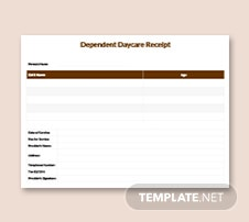 Dependent Daycare Receipt Template