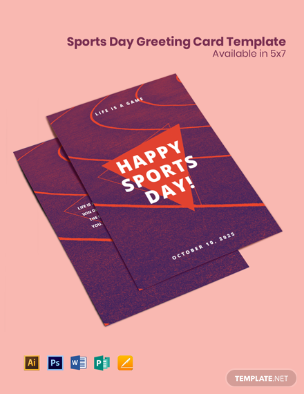 Sports Day Greeting Card Template