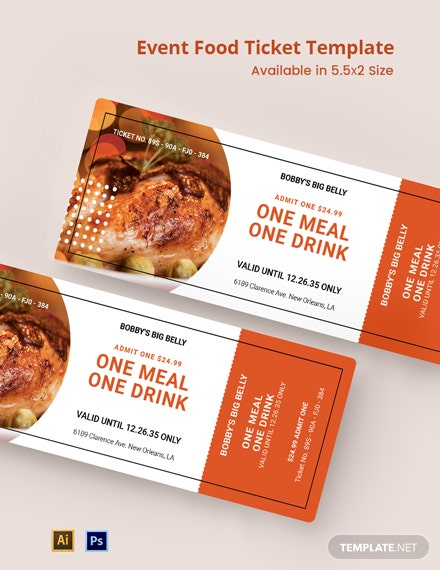 Event Food Ticket Template