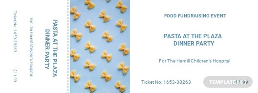 Food Fundraiser Food Ticket Template