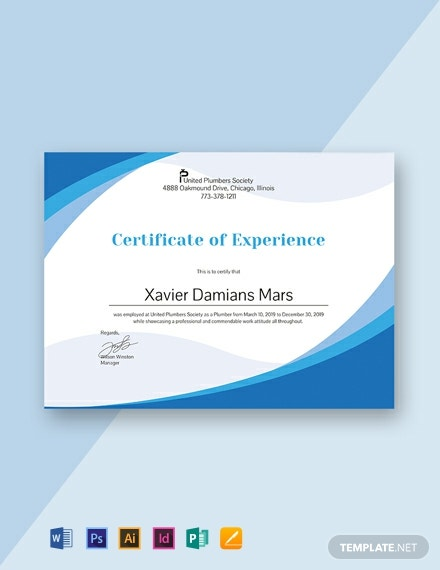 Free Plumbing Experience Certificate Template