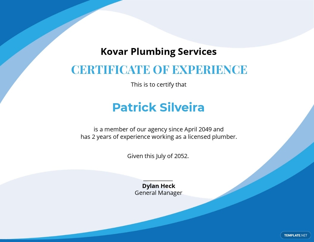 Plumbing Experience Certificate Template