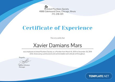 Free Plumbing Experience Certificate Template: Download 200+ ...