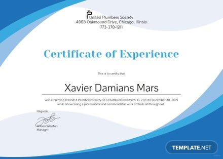 Free Plumbing Experience Certificate Template in PSD, MS Word ...
