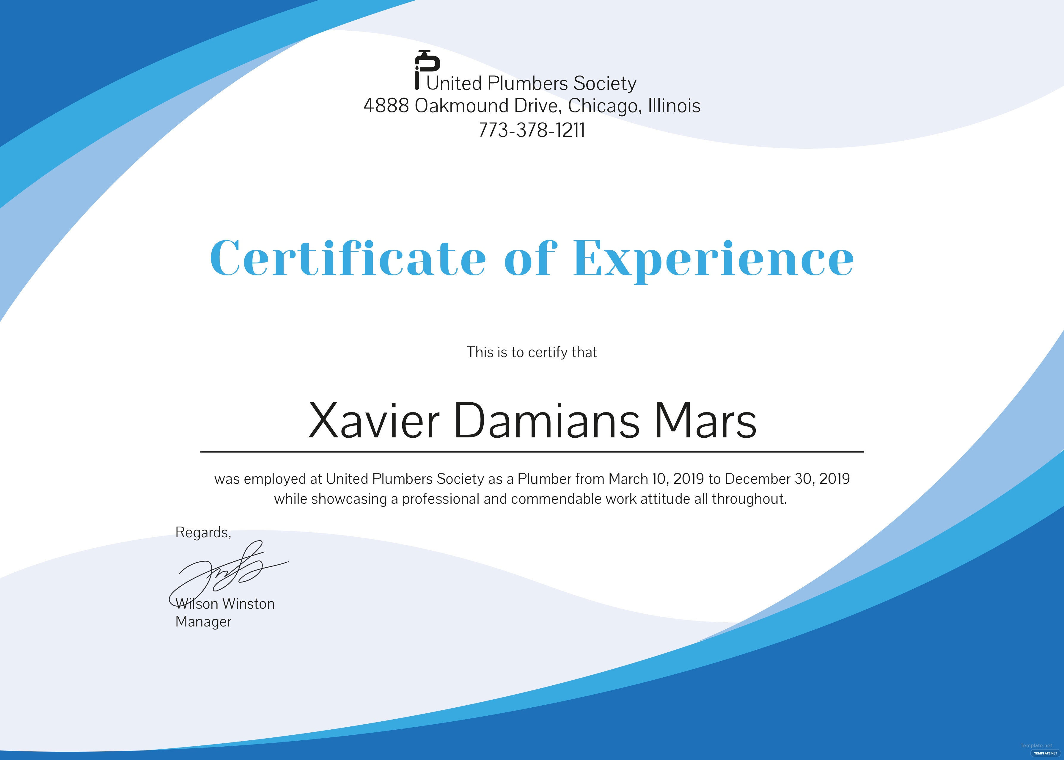 Free plumbing experience certificate template in psd ms for Work certificate template word