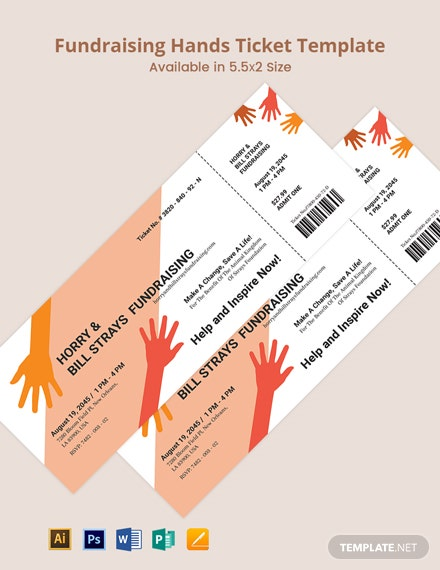 Fundraising Hands Ticket Template