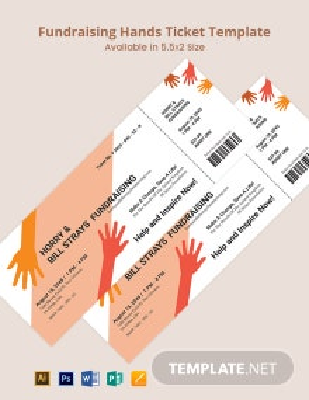 Fundraising Hands Ticket Template