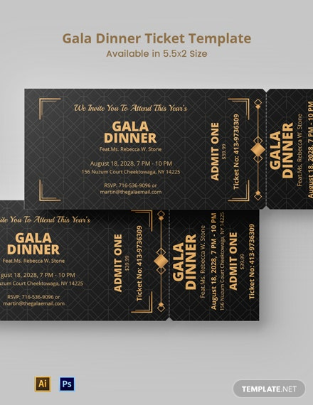 Gala Dinner Ticket Template
