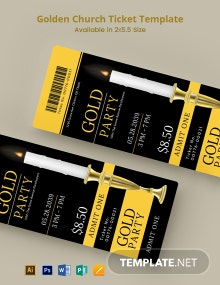 Golden Church Ticket Template