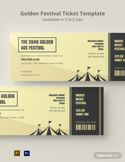 Golden Festival Ticket Template