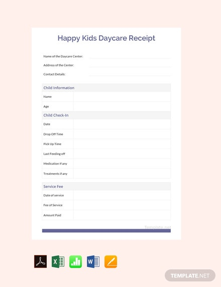 Free Happy Kid's Daycare Receipt Template
