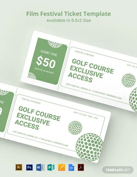 Golf Raffle Ticket Template
