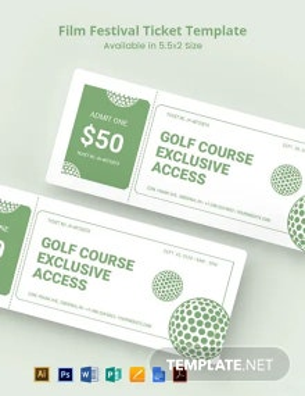 Golf Raffle Ticket Template