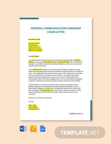 Free Internal Communications Manager Cover Letter Template