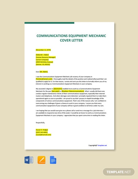 Free Communications Equipment Mechanic Cover Letter Template