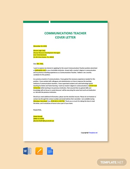 Free Communications Teacher Cover Letter Template