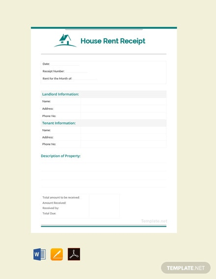 Free Monthly House Rent Receipt Template