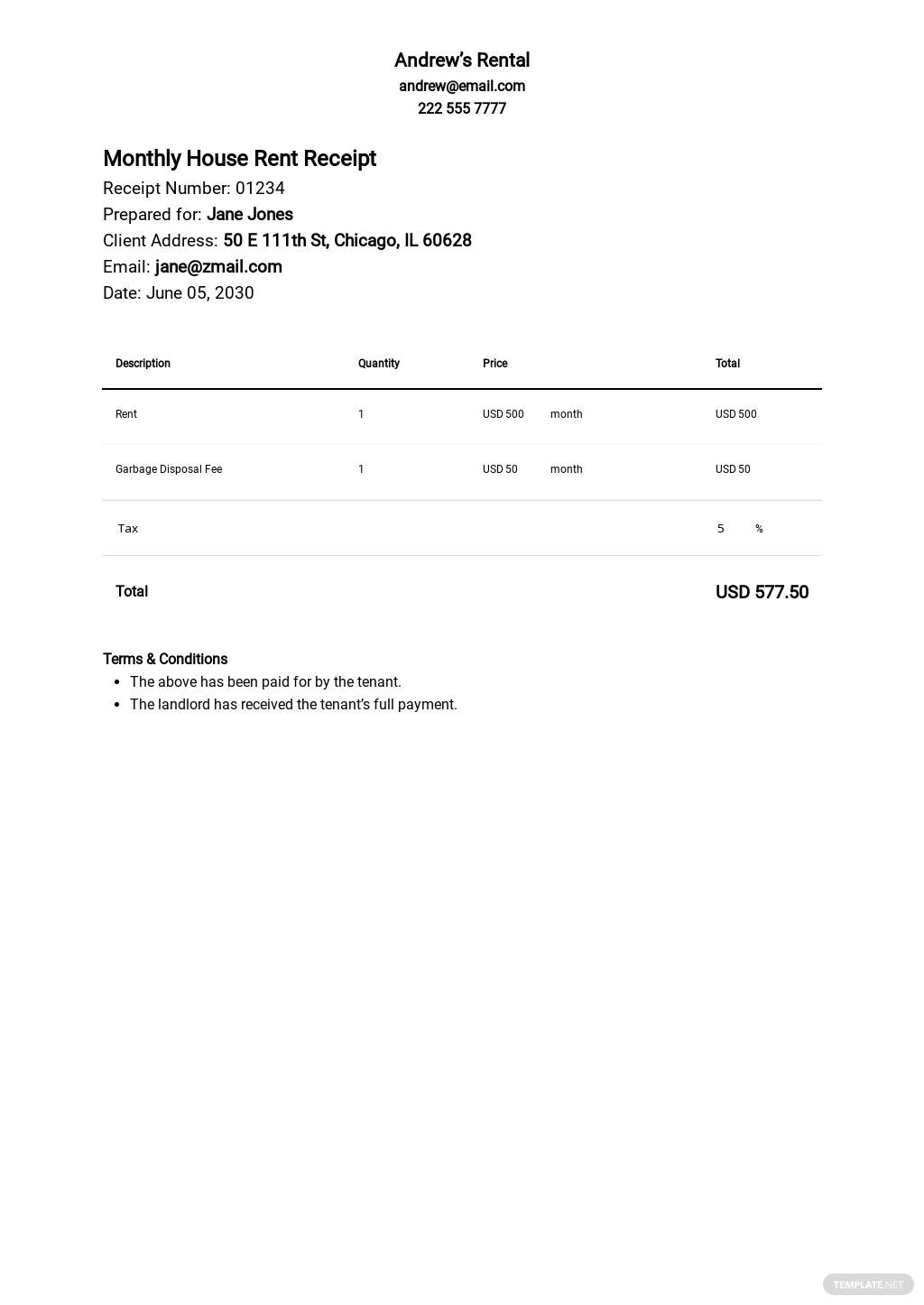 Free Monthly House Rent Receipt Template.jpe