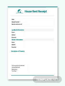 Monthly House Rent Receipt Template