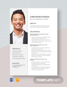 Free Medical Laboratory Scientist Resume Template