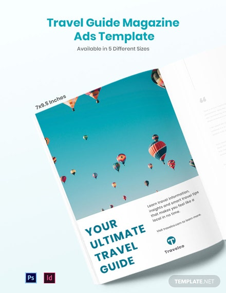 Free Travel Guide Magazine Ads Template