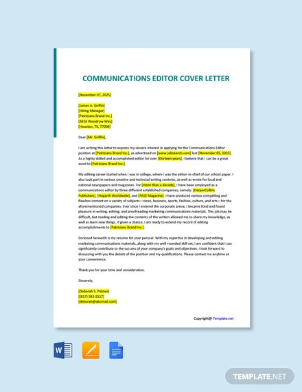 Free Communications Editor Cover Letter Template