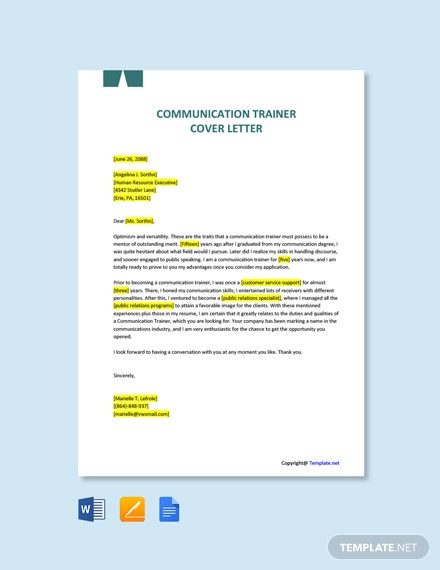 Free Communication Trainer Cover Letter Template