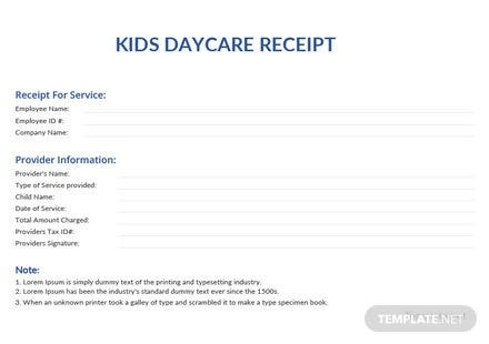 Kids Daycare Receipt Template