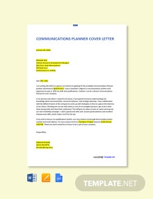 Free Communications Planner Cover Letter Template