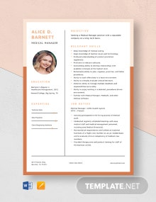 Medical Manager Resume Template