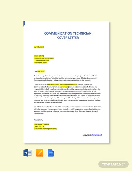 Free Communication Technician Cover Letter Template