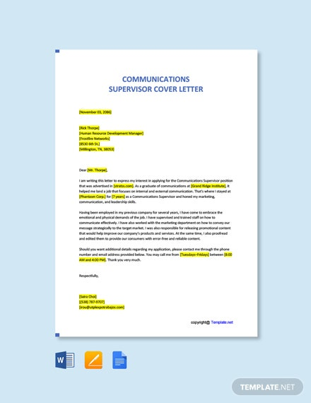 Free Communications Supervisor Cover Letter Template