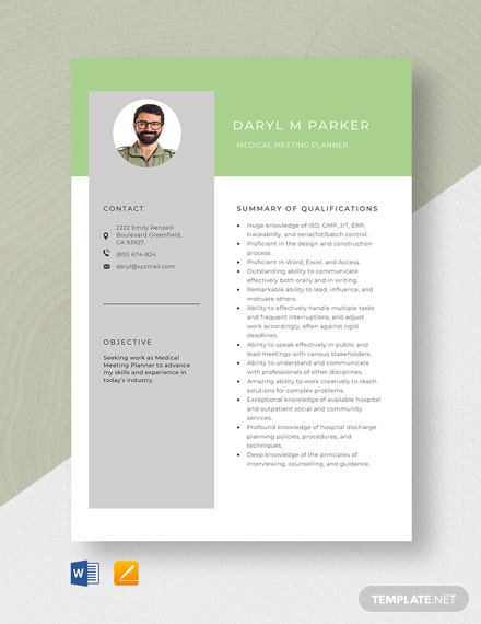 Free Medical Meeting Planner Resume Template
