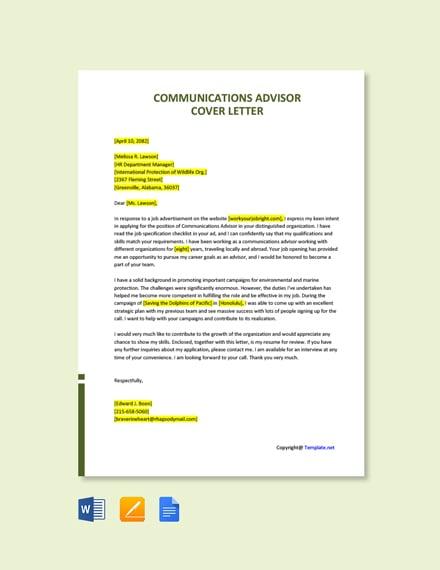 Free Communications Advisor Cover Letter Template