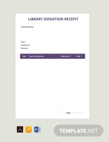 Free Library Donation Receipt Template