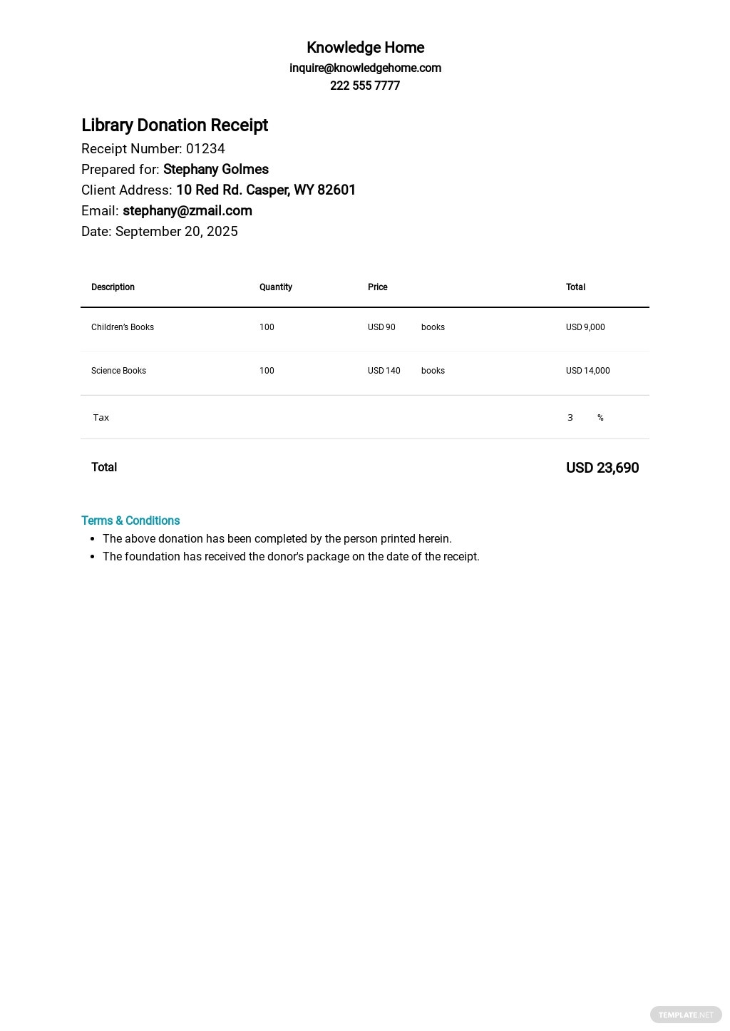 Free Library Donation Receipt Template.jpe