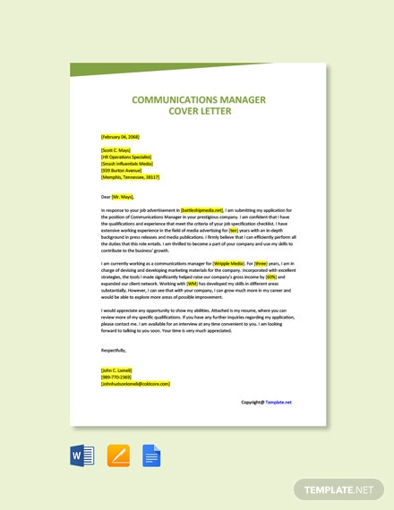 Free Communications Advisor Cover Letter Template Word