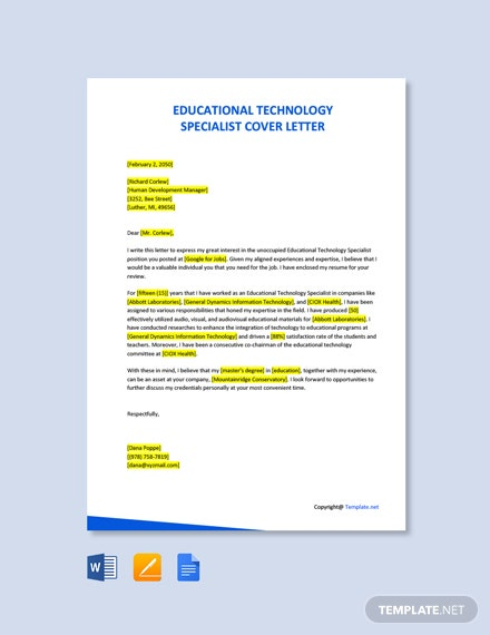 Free Educational Technology Specialist Cover Letter Template