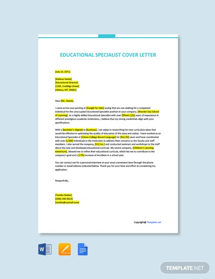 Free Educational Specialist Cover Letter Template