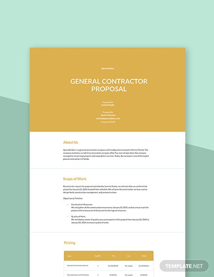 Free General Contractor Services Proposal Template