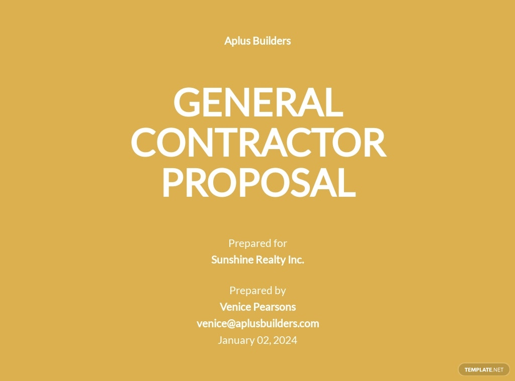 General Contractor Services Proposal Template