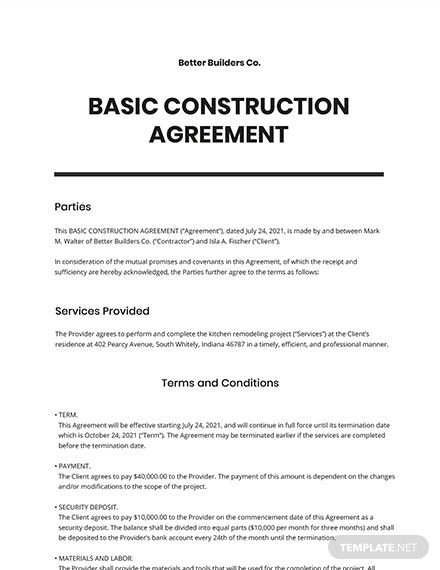 Free Basic Construction Agreement Template