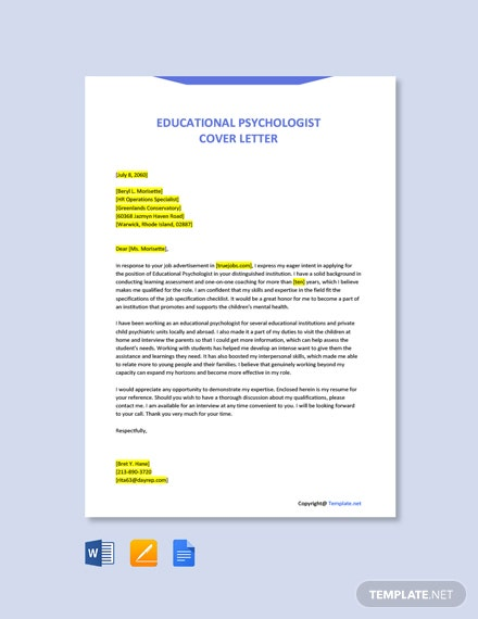 Free Educational Psychologist Cover Letter Template