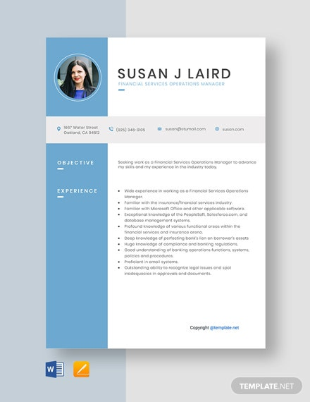 Free Financial Services Operations Manager Resume Template