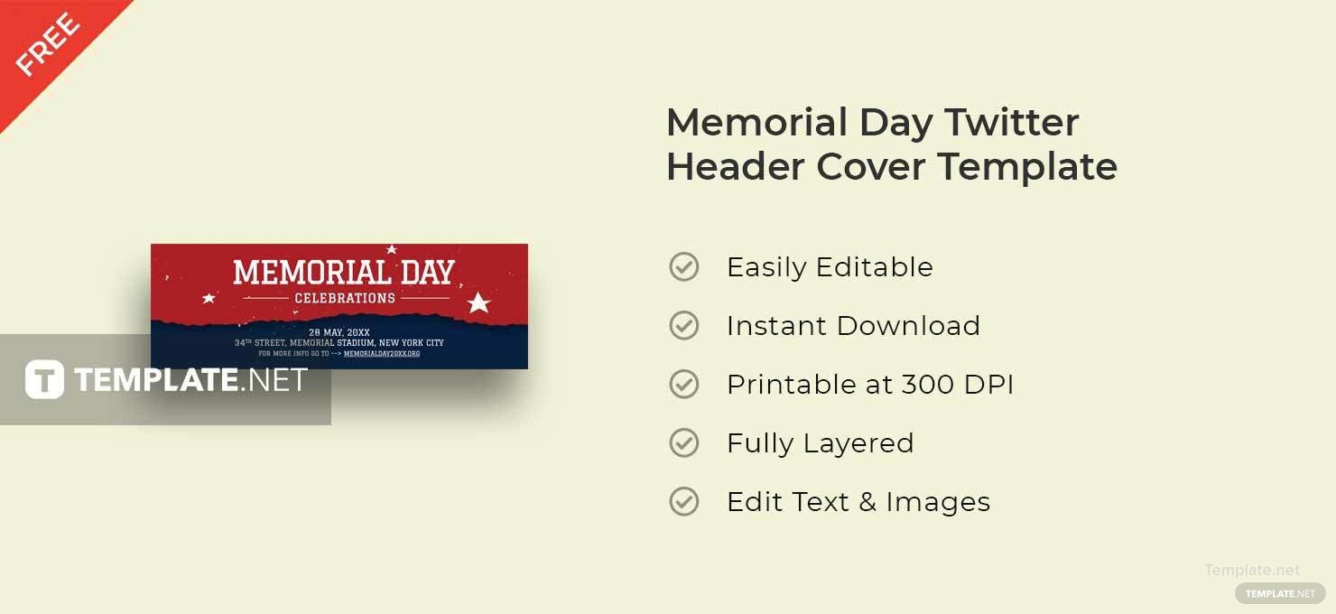 Memorial Day Twitter Header Cover Template in Adobe Photoshop ...