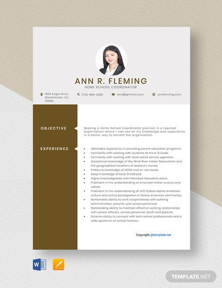 Free Home School Coordinator Resume Template